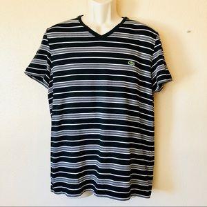 Lacoste V-neck black and white striped shirt sz 5